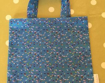 Handmade Bespoke Hundreds & Thousands Sprinkles Printed Cotton Party Tote Bag, Book Bag, Toy Bag