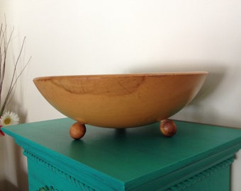 Mid Century Modern Wooden Bowl with Feet