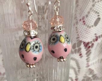 Whimsical Pink Oval Owl Dangle Earrings
