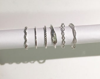 6 assorted rings set silver midi all sizes
