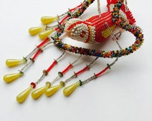 Vintage 3D Beaded Bird in Heart Shaped Beaded Garland .