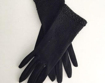 Vintage Black Beaded Gloves.