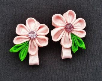 """2"""" Pink Flower Hair Bows"""