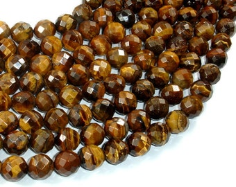 Tiger Eye Beads, 10mm Faceted Round, 15.5 Inch, Full strand, Approx 39 beads, Hole 1mm (426025005)