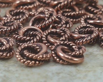 Copper, Jump Ring, Twist and Plain, Twisted Wire Ring, Copper Jump Ring, Copper Jewelry, Copper Component, Jewelry Component, Copper Ring