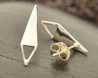 Sterling Silver, Diamond Shape, Post Earrings, Open Triangle, Triangle Loop, Silver Diamond, Earring Finding, Silver Finding, Geometric