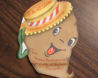 1950s USED Card, Anniversary Card, sweet potato, For Husband