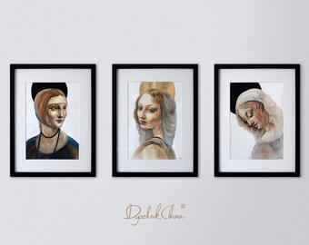Leonardo da Vinci's Women Collection - original watercolor painting - from Anna Dyachuk