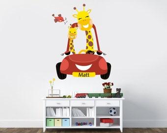 Giraffe Wall Vinyl Decal | Room Decor | Giraffes driving a car with birds singing | Nursery