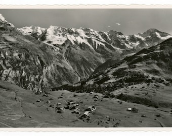 Blumental bei Mürren - Real Photo Postcard- Switzerland- Gletscherhorn, Ebnefluh, Mittaghorn, Grosshorn, Breithorn- RPPC- vintage photo