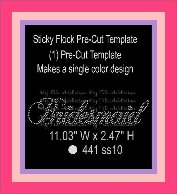 sticky flock pre cut templates items similar to bridesmaid pre cut sticky flock