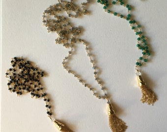 Beaded Chain (Rosary style) Tassel Necklace