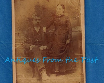1860's Antique Cabinet Card - Unknown Photographer - Man Sitting, Women Standing