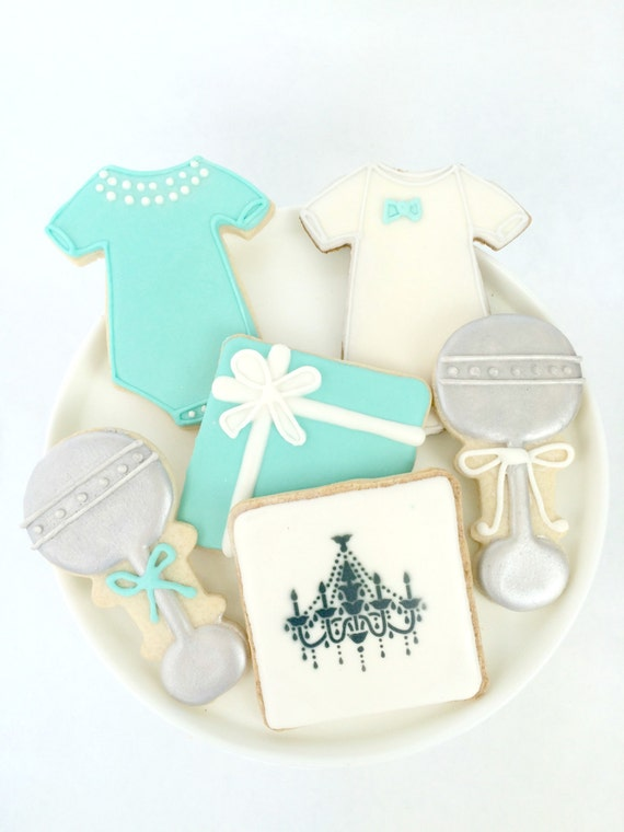 tiffany baby and co inspired baby shower cookies