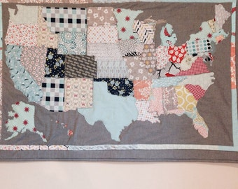 Patchwork USA Map Wall Quilt