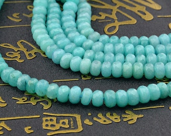 15.5inch Light Blue Jade Faceted Rondelles Beads 5mm x 8mm