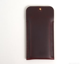 iPhone X Leather Sleeve with Button Closure // Case, Full Grain Horween Leather
