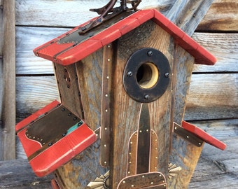 Unique Birdhouse Barnwood Villa Handmade Reclaimed Vintage Birdhouse Wedding Birthday Gift #1817