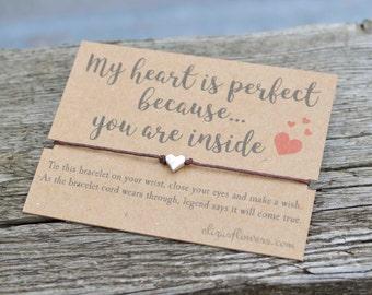 Wish Bracelet, Girlfriend Wish Bracelet, Boyfriend Wish Bracelet, Love Wish Bracelet, Heart Charm Bracelet, Bracelet and Gift Card, My Heart