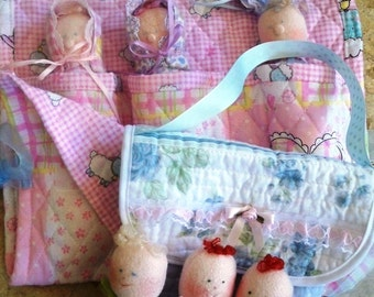 Dinky Baby Pattern 061 & 068 - Pocket Babies and Angie's Pocket Baby Purse - PDF Pattern - Instant Download