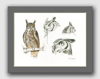 Great horned owl - bird wildlife animal decor- bird prey animal wall art - owl gift decor bird - Original watercolor painting- Juan Bosco