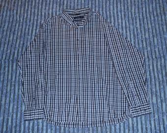Nautica - 80's Two Ply Cotton - Checker Long Sleeve Polo T-shirt - XL - LOW KEY Where's Wally Logo