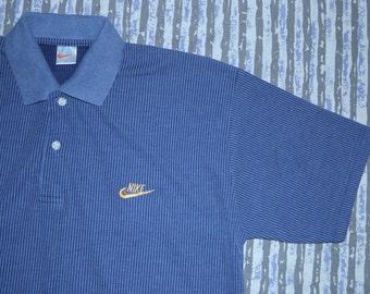 Nike - Sapphire Indigo Blue - Gold Logo  90's Ribbed Corduroy Polo T-shirt - Large - X-Large