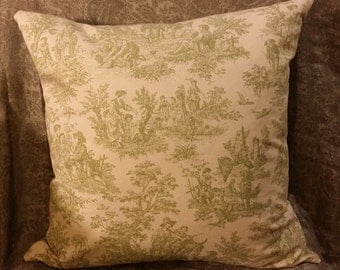 Zippered Pillow Cover - Toile in Green & Cream - French Country Scenes