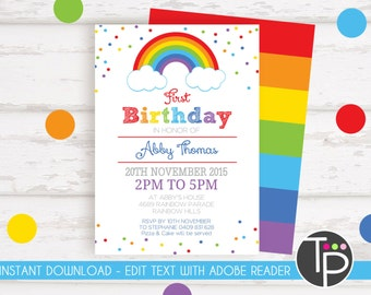 RAINBOW INVITATION, Instant download RAINBOW Invitations, Rainbow Party Invitation, Rainbow Party, Edit yourself with Adobe Reader