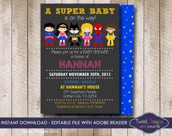 SUPERHERO Baby Shower Invitation, INSTANT DOWNLOAD Superhero Baby Shower Invitation,  Superhero Baby Shower, Edit yourself with Adobe Reader