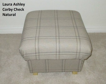 Laura Ashley Corby Check Fabric Footstool Footstall Dressing Table Stool Seat Beige Handcrafted British