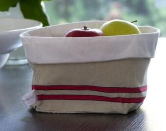 Linen breadbasket * clutter basket * gift basket * redblue
