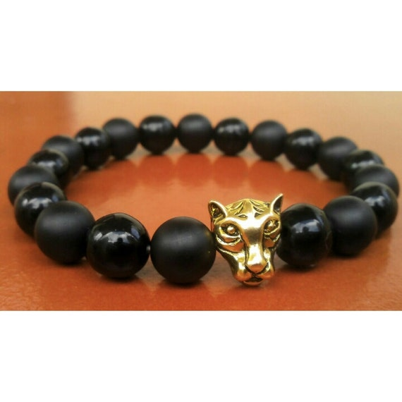 mens strength bracelet tiger bracelet onyx bracelet mens