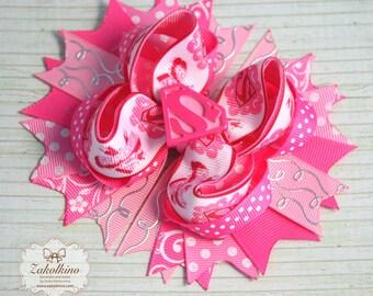Supergirl Hair Bow - Pink Hot Pink bow - OTT hair bow - Stacked hair bow  - Supergirl Party - Layered hair bow - Supergirl birthday