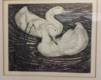 Signed Thomas Handforth Duck Etching