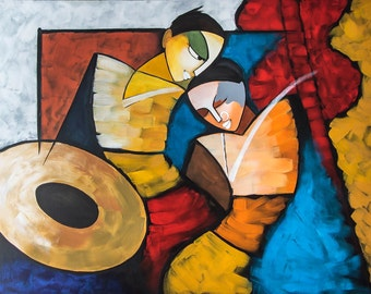 Indian Painting, Contemporary Art, Modern Krishna Radha, Couple Painting, Acrylic Portrait, Traditional Figurative art, Nikki Chauhan