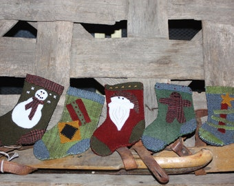 Hand stitched wool stocking ornaments - Ship Free