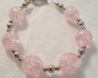 Pale Pink Cracked Glass Bracelet - Pale Pink Bracelet - Pink Bracelet- Women's Bracelet - Women's Pink Bracelet - Glass Bracelet -Pink Glass