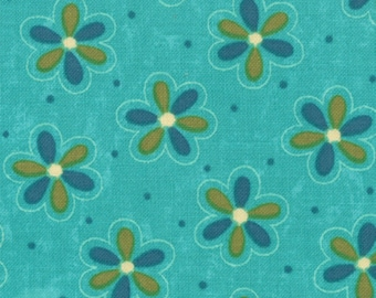 Sassy by Sandy Gervais (17642 16) Blue Floral Quilting Fabric by the 1/2 Yard