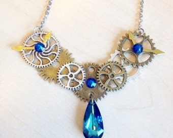 Steampunk with COGS, gears and blue Swarovski Crystal Necklace