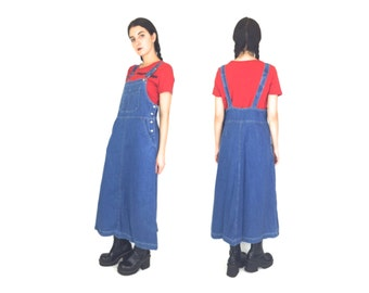 90s Blue Jean Denim Floor Length Overall Dress Dungarees