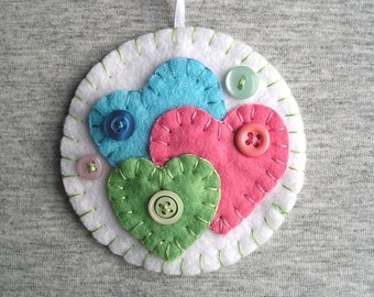 Felt hearts Ornaments  Hanging Felt hearts Valentines day Valentines heart love White Blue Mint green Pink