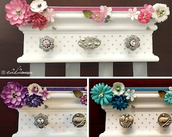 "Hair Bow Holder, Hair Accessory Organizer, Daughter from Mother, Girls Bow Holder, 10"" Flower Bow Holder, Wall Bow Organizer, BH100"