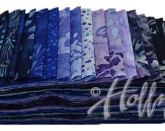 "Bali Poppy ""Blue Hawaiian"" by Hoffman Fabrics-20 strips of 2 1/2"" fabric strips -jelly roll - BPP-200 - hand dyed fabric,  batik fabric"