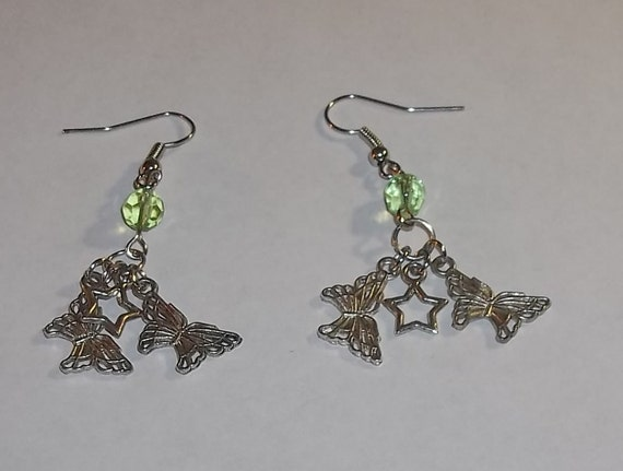 Butterflies and Stars Hand Crafted Dangle Earrings w/Light Green Swarovski Crystals