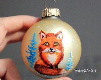 Hand painted Christmas Glass ornament