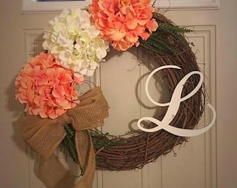 Spring Grapevine wreath/ Hydrangeas/ summer wreath