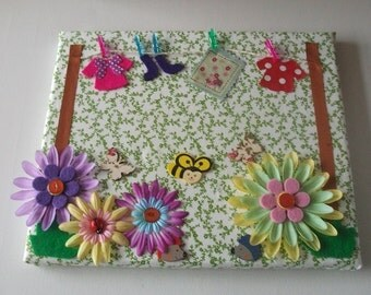 Canvas collage washing line, flowers,  childrens room decor