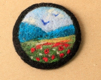 Needle felted brooch,felt brooch, felted landscape, pin, felt jewellery, wool brooch, for her, miniature art, felted badge