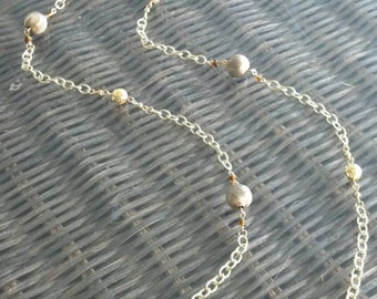 Long Gold Necklace with Vintage Metal Beads and Gold Filigree Beads